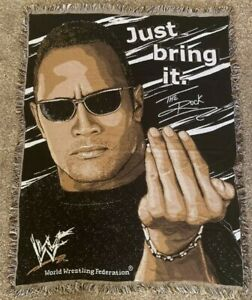 WWF The Rock Just Bring It The Northwest Company Woven Throw Blanket 43x57