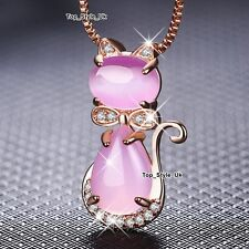 Rose Gold Pink Opal Moonstone Cat Necklace Birthday Xmas Gifts for Her Women O1