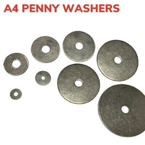 Penny Washer Stainless Steel Repair Mud Guard A4 Marine Grade 316