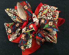 New Huge 6� Custom Boutique Stacked Hairbow Dc Comics Superman Superhero Party