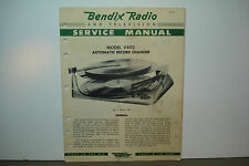 BENDIX AUTOMATIC RECORD CHANGER SERVICE MANUAL MODELS V402 (15 PAGES)