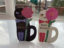 Happy birthday greeting card for cat lovers (White or Black Cat)