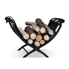 Relaxdays 10022301 cesta para Leña con asas negro 32x43.5x32 cm