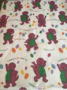 "VINTAGE Twin Barney Purple Dinosaur Baby Crib Blanket Comforter 72"" X 88"""