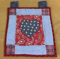 Quilt Wall Hanging, Mini, Patchwork With Appliquéd Star, Red, Navy, Blue, White