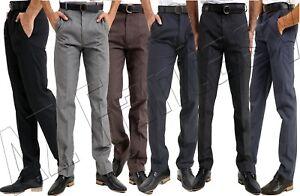 Mens Gents Trousers Formal Office Work School Uniform Smart Pants Big Plus 30-50