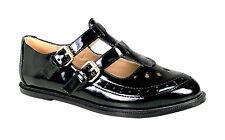 Womens Girls Flat Cut out Mary Jane T-bar Geek PUMPS Black Patent Shoes Sizes Black Patent UK 6 EU 39 US 8