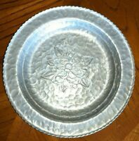 Vintage Farberware Hammered Alluminum, Etched Rose, ServingTray/Dish - 1950's