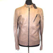 L-3691363 New Belstaff K Racer Brown Leather Zip Jacket Coat US-S Marked-48