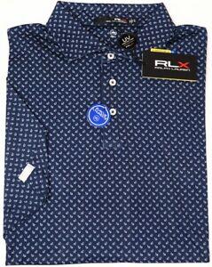 RLX Polo Ralph Lauren Navy Blue Short Sleeve Wicking Shirt UPF 50+ NWT NEW $98
