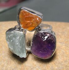 Sterling silver triple ROUGH AMETHYST/CITRINE/AQUAMARINE ring UK K¾-L/US 5.75-6