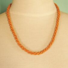 "10 PCS  20"" Handmade Orange Color Beaded Rope Chain Necklace WHOLESALE LOT"