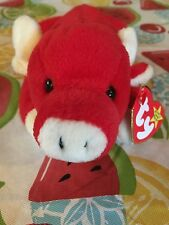 This ULTRA Rare Vintage 1995 red TY Snort beanie baby multiple tag errors