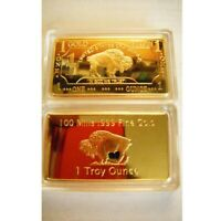 Gold One Troy Ounce American Buffalo 100 Mills .999 Fine Plated Gold Bars