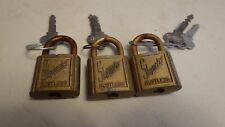 Vintage SLAYMAKER Rustless Metal Padlock Brass Lock w/ Keys LOT OF 3 FREE SHIP
