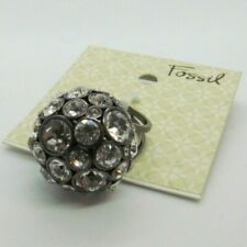 Fossil Brand GLAM Ring Glitz DISCO BALL Crystals Statement Black size 7