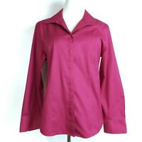 Chicos Womens Long Sleeve Shirt Sz L (2) Fitted Fuchsia Pink Cotton Button Front