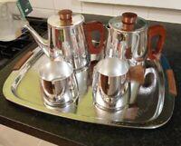 SONA STAINLESS STEEL & TEAK TEA SET TRAY TEA POT WATER POT SUGAR BOWL MILK JUG
