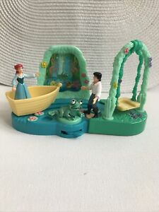 Vintage Disney Little Mermaid Eric & Ariel Swing, Moving boat Sliding Scene &Bag