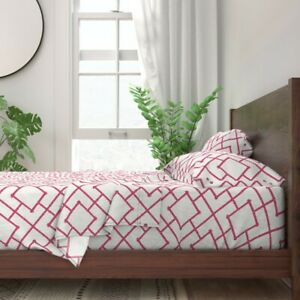 Pink Bamboo Geometric 100% Cotton Sateen Sheet Set by Roostery
