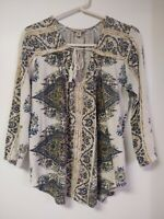LUCKY BRAND Boho Beige Brown Teal Paisley Peasant Top Tassel Tie Long Sleeve ~ M