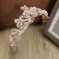Ladies Baroque Bridal Pink Crystal Beads Crown Wedding Tiara Headband Headpiece