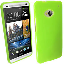 Verde Case TPU Gel para HTC One M7 Android Smartphone Funda Cover Carcasa 1
