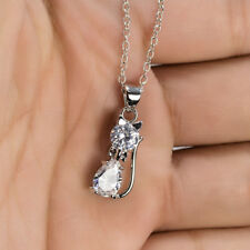 Women 925 Silver Filled Cat Crystal Rhinestone Zircon Pendant Necklace Jewelry