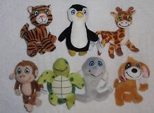Plush Finger Puppet Set 7 Turtle Penguin Dolphin Dog Monkey Giraffe Tiger NEW