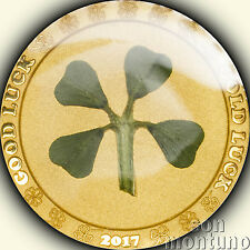 2017 Palau - GOOD LUCK - 1 gram .9999 Gold Proof Coin WITH REAL 4 LEAF CLOVER