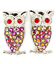 Red Crystal Owl Earrings