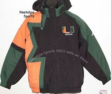 Vintage 90s U Miami HURRICANES Apex One JACKET Back Patch BORDER Hooded NWT NOS