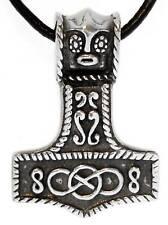 Thor Martillo de Thor Plata Colgante Peltre Cordel Cuero