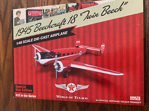 #22 WINGS OF TEXACO 1945 BEECHCRAFT AIRPLANE, SPECIAL RED, DIE-CAST