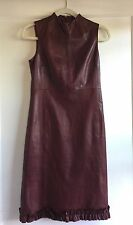 Bally 100% Leather Sheath Cocktail Dress Ox Blood Red Size 40 4 Made In Italy
