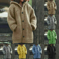 Women Hooded Cardigan Knitted Sweater Coat Thick Warm Long Sleeve Tops  Autumn