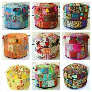 Indian Vintage Patchwork Pouf Ottoman Round Ottoman Cover Pouf Footstool Ethnic