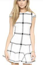 Alice + Olivia Selma Checkered Drop Waist Dress Knit White Black Size XS NWOT