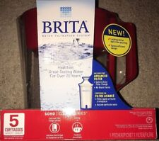 Brita 36090 Soho Water Filter Pitcher, Red 5 cup