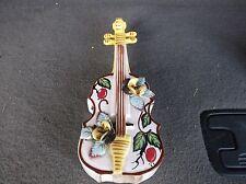 """Vintage Ceramic  Violin Guitar Floral Wall Pocket Vase Planter 10""""Flower Holder"""