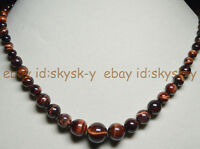 NATURAL 6-14MM RED GENUINE TIGER'S EYE GEMS STONE ROUND BEADS JEWELRY NECKLACE