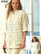 LADIES COTTON OR ARAN WITH WOOL WAISTCOAT SWEATER PATTERN BY EMAIL (321)