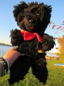 VINTAGE RARE BLACK TEDDY BEAR W CHIME MUSICAL GUND CREATION PAPER TAG SILK PLUSH