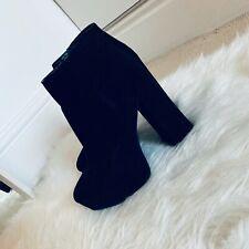 New Look Black Faux Suede Chucky Heel Platform Boots. Size UK 5.
