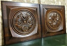 Pair scroll leaves wood carving panel Antique french oak architectural salvage