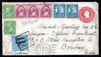 USA 1936 Airmail to P & O Steam Co Santa Barbara to Bombay cover WS11129