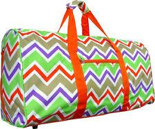 "22""Women's Chevron Print Gym Dance Cheer Travel Carry On Duffel Bag-Orange Multi"