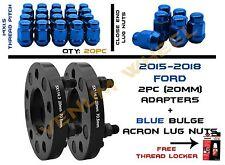 Pair of 2015 Ford Mustang (20mm)+20 Blue Bulge Acorn Lug Nuts 14x1.5