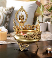 Gorgeous Brass Urli Floating Flower Pot w God Ganesha Statue Sculpture Ornament