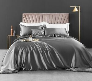 Carlty's Silk Duvet Set, Includes - Quilt Cover - Fitted Sheet - Pillowcases
